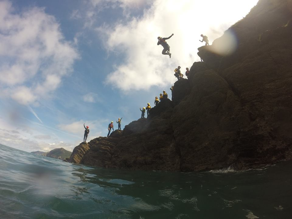coasteering team jump