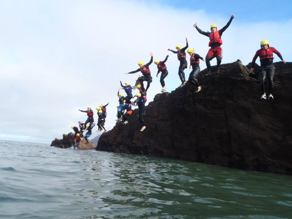 coasteering team jump