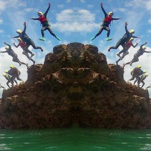 group coasteer jumping devon