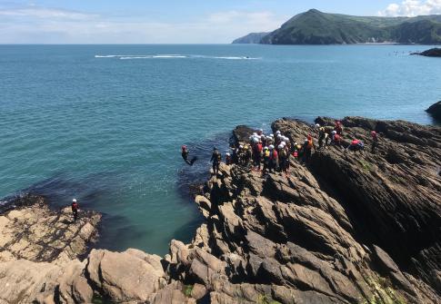 coasteering, NCS devon, fun, watersports, team building,