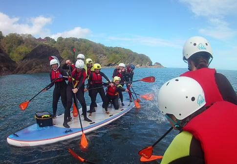 hen party, SUP, stand up paddleboards, surf, watersports, adventure sport, fun, hen party devon