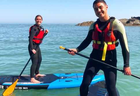 SUP, stand up paddleboard, surf, couple, sun, sea , coastline