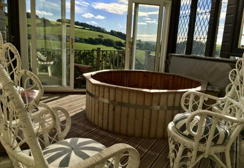 the hot tub at the luxury Hartpiece with scenic views for upmarket stag and hens www.hartpiece.co.uk